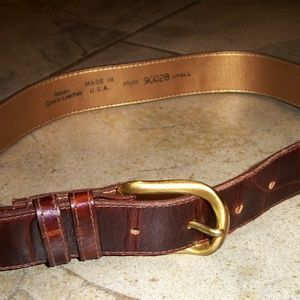 Accessories - Red Brown Embossed Italian Croco Leather Belt S